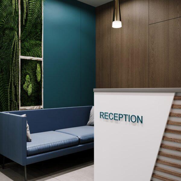 """Дизайн-проект гостиницы """"CITY LIFE"""", ресепшен вид сбоку"""