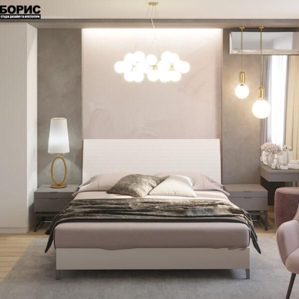 """Дизайн-проект двухкомнатной квартиры ЖК """"Пролисок"""", спальня вид спереди"""