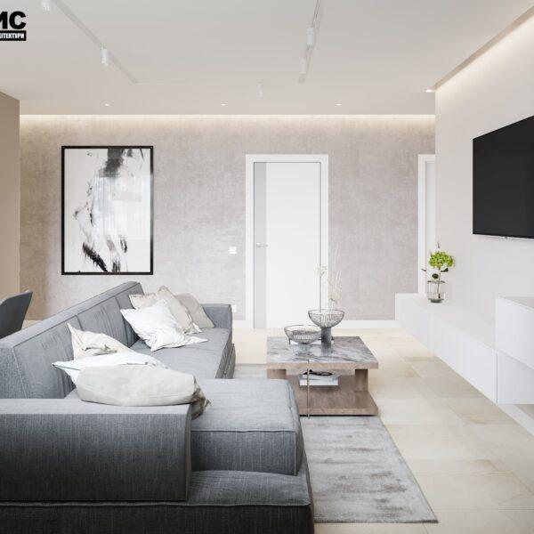 """Дизайн интерьера квартиры ЖК """"Журавли"""", гостиная вид справа"""