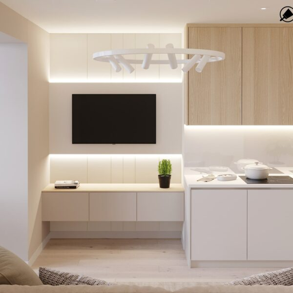 """Дизайн-проект двокімнатної квартири ЖК """"Левада"""", вітальня вид ззаду"""