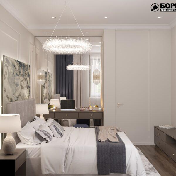 """Дизайн-проект однокомнатной квартиры ЖК """"Инфинити"""", спальня вид сбоку"""