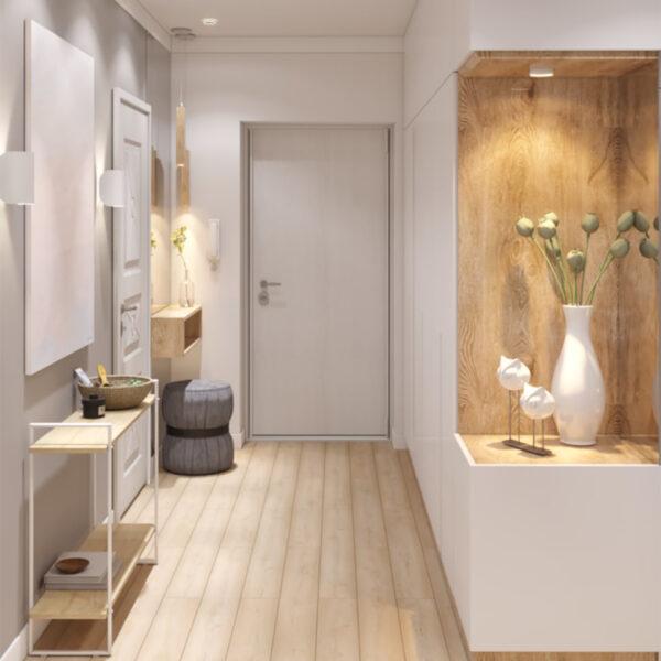 """Дизайн-проект двухкомнатной квартиры ЖК """"Пролисок"""", прихожая вид сбоку"""