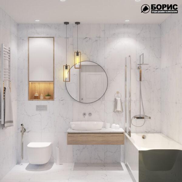 """Дизайн-проект двокімнатної квартири ЖК """"Пролісок"""", санвузол вид спереду"""