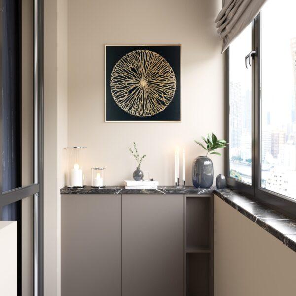 """Дизайн-проект однокімнатної квартири ЖК """"Інфініті"""", балкон вид зліва"""