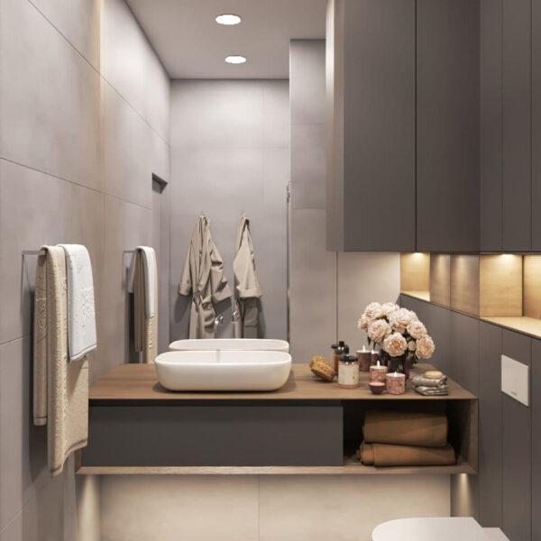"""Дизайн-проект трикімнатної квартири ЖК """"Віденський дім"""", санвузол №2 вид спереду"""