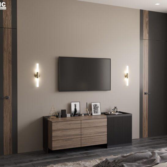 "Дизайн-проект двоповерхової квартири ЖК ""Клеменова Дача"", спальня №3 вид ззаду"