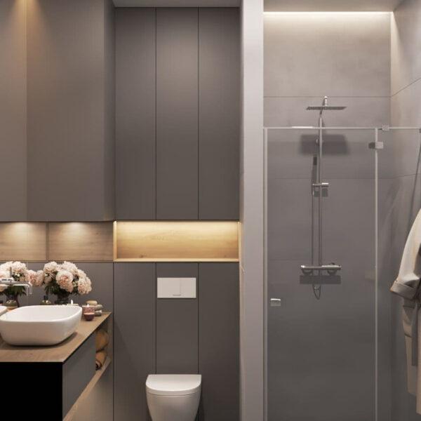 """Дизайн-проект трикімнатної квартири ЖК """"Віденський дім"""", санвузол №2 вид справа"""