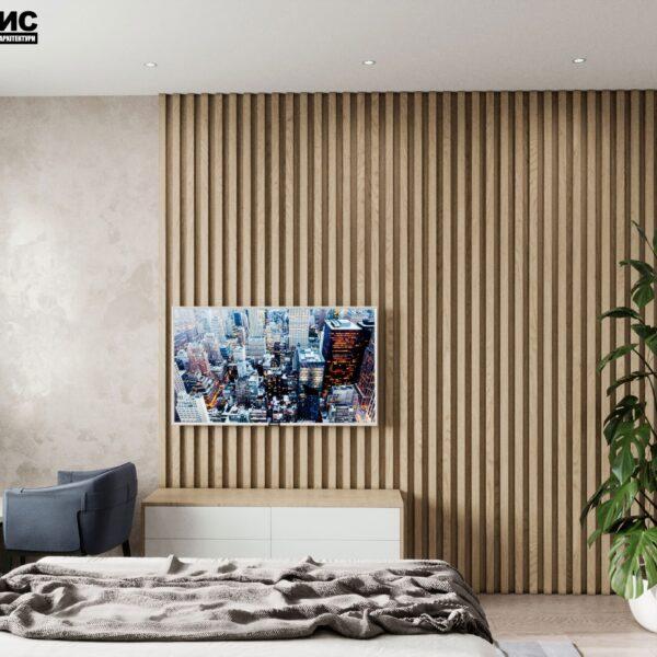"""Дизайн-проект гостиницы """"CITY LIFE"""", комната №4 вид сзади"""