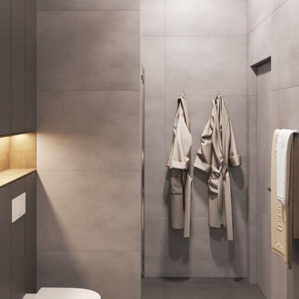 """Дизайн-проект трикімнатної квартири ЖК """"Віденський дім"""", санвузол №2 вид ззаду"""