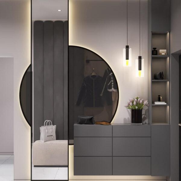 """Дизайн-проект трикімнатної квартири ЖК """"Віденський дім"""", передпокій вид справа"""