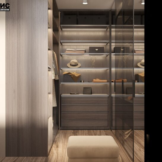 "Дизайн-проект двоповерхової квартири ЖК ""Клеменова Дача"", гардеробна вид збоку"