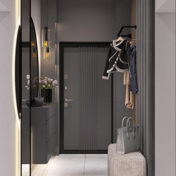 """Дизайн-проект трикімнатної квартири ЖК """"Віденський дім"""", передпокій вид ззаду"""