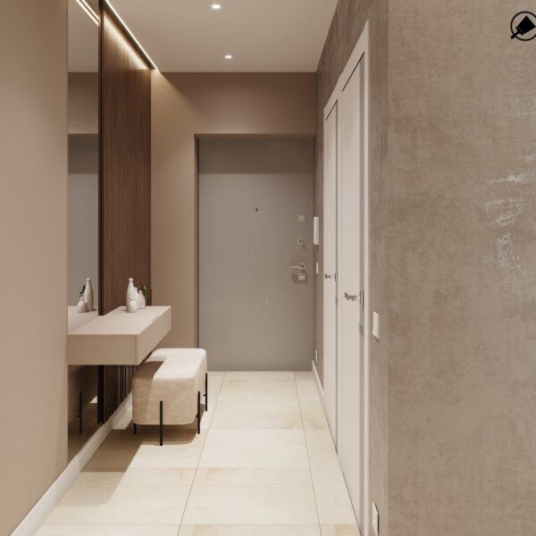 """Дизайн интерьера квартиры ЖК """"Журавли"""", прихожая вид сзади"""