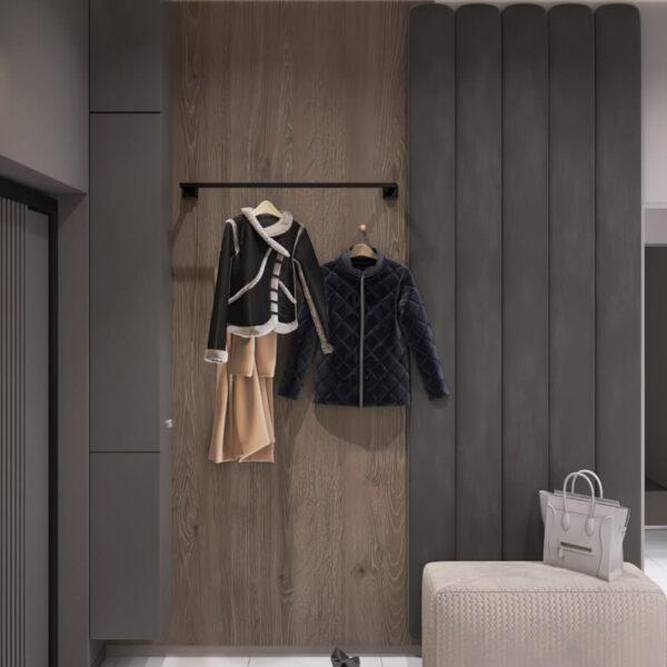 """Дизайн-проект трикімнатної квартири ЖК """"Віденський дім"""", передпокій вид зліва"""