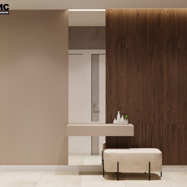 """Дизайн интерьера квартиры ЖК """"Журавли"""", прихожая вид сбоку"""