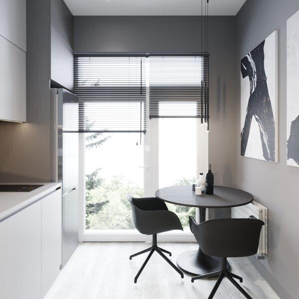 """Дизайн інтер'єру квартири ЖК """"Віденський дім"""", кухня вид справа"""