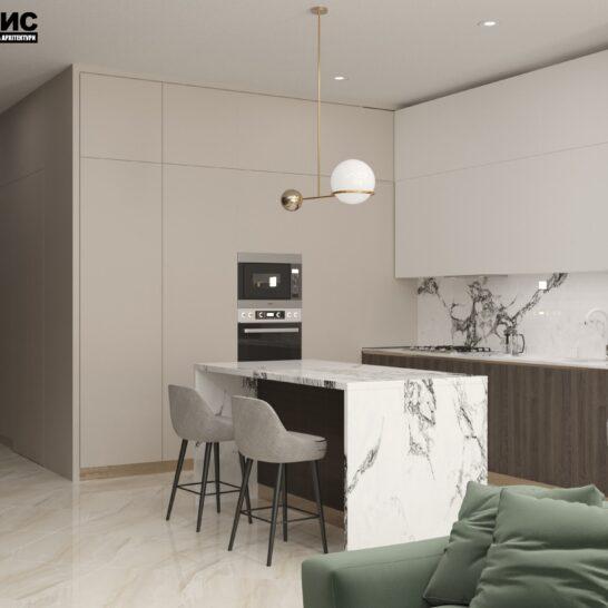 "Дизайн-проект двоповерхової квартири ЖК ""Клеменова Дача"", кухня вид зліва"
