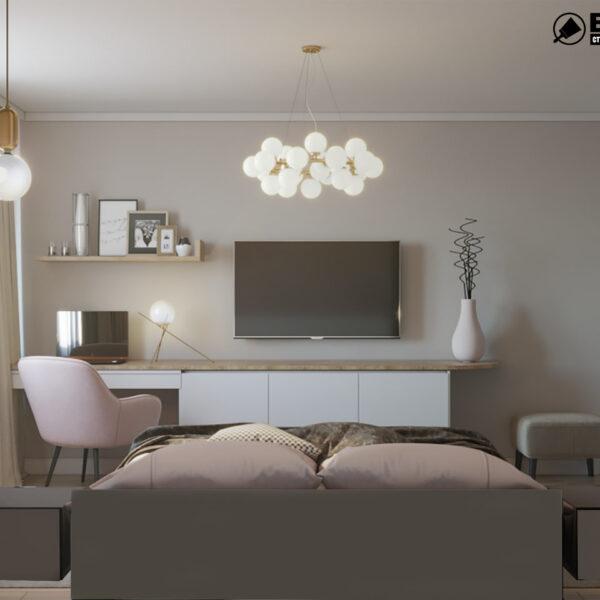 """Дизайн-проект двухкомнатной квартиры ЖК """"Пролисок"""", спальня вид сзади"""