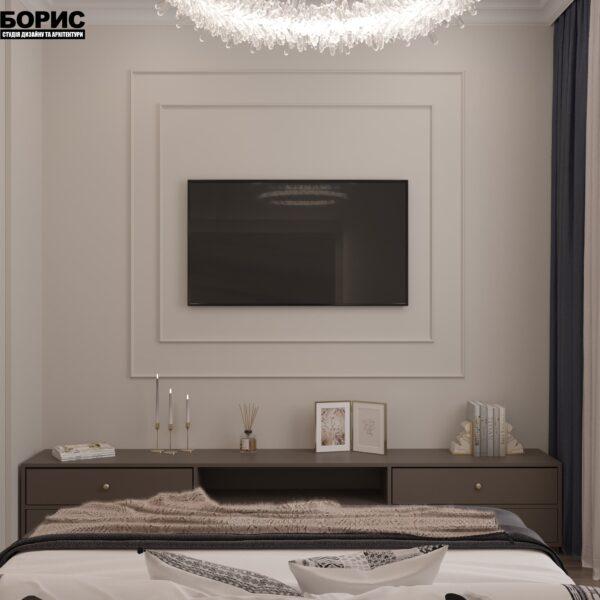 """Дизайн-проект однокімнатної квартири ЖК """"Інфініті"""", спальня вид ззаду"""