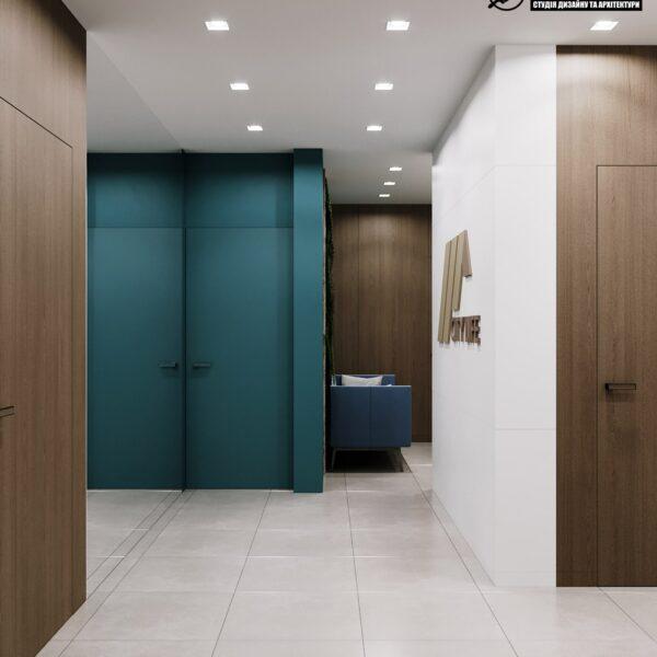 """Дизайн-проект готелю """"CITY LIFE"""", ресепшен вид з коридору"""