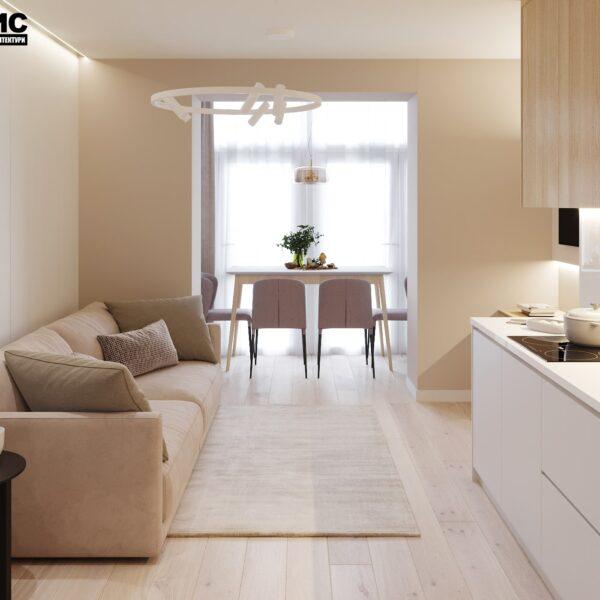 """Дизайн-проект двокімнатної квартири ЖК """"Левада"""", вітальня вид справа"""