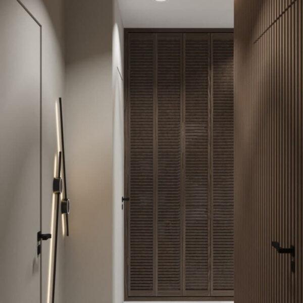 """Дизайн-проект трикімнатної квартири ЖК """"Віденський дім"""", коридор №1 вид спереду"""