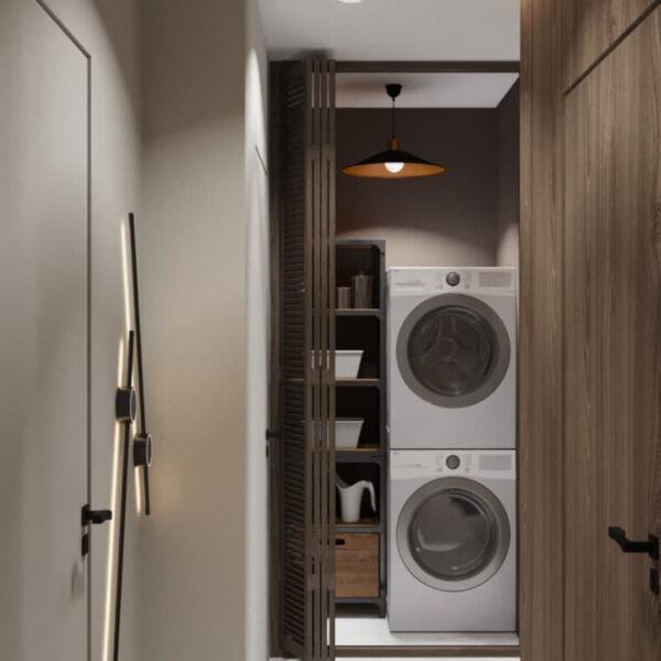 """Дизайн-проект трикімнатної квартири ЖК """"Віденський дім"""", коридор №1 пральна машинка"""