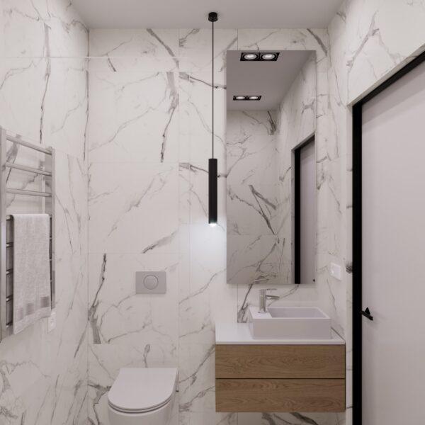 """Дизайн-проект гостиницы """"CITY LIFE"""", санузел №2 вид спереди"""