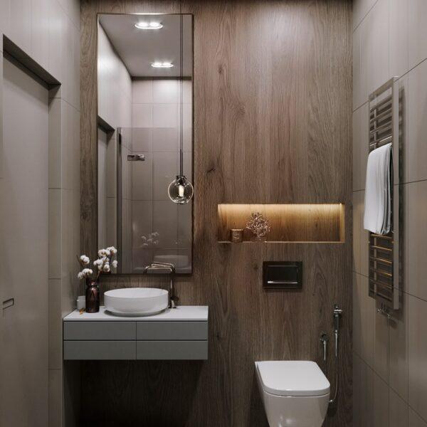 """Дизайн-проект гостиницы """"CITY LIFE"""", санузел №3 вид спереди"""