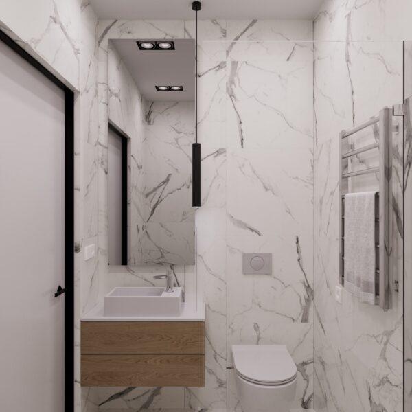 """Дизайн-проект гостиницы """"CITY LIFE"""", санузел №4 вид спереди"""