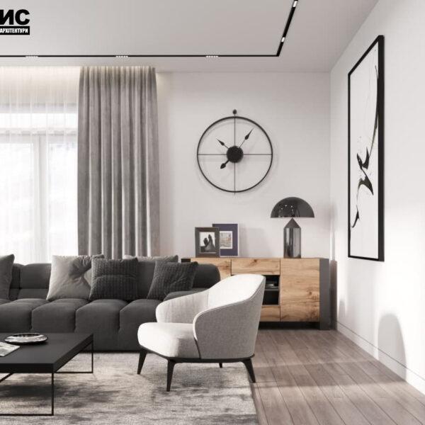 """Дизайн-проект трикімнатної квартири ЖК """"Віденський дім"""", вітальня"""