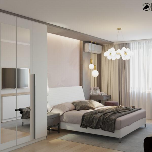 """Дизайн-проект двухкомнатной квартиры ЖК """"Пролисок"""", спальня вид справа"""