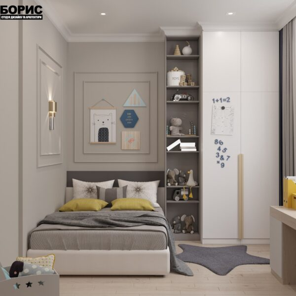 """Дизайн-проект однокімнатної квартири ЖК """"Інфініті"""", дитяча кімната вид спереду"""