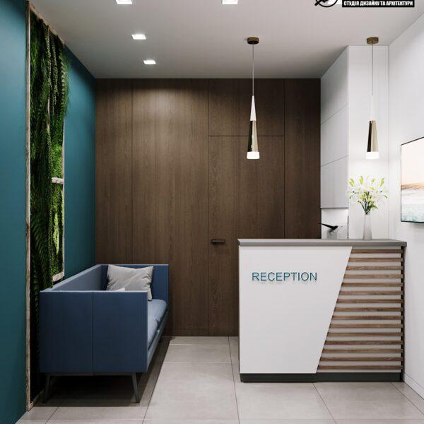 """Дизайн-проект готелю """"CITY LIFE"""", ресепшен вид спереду"""