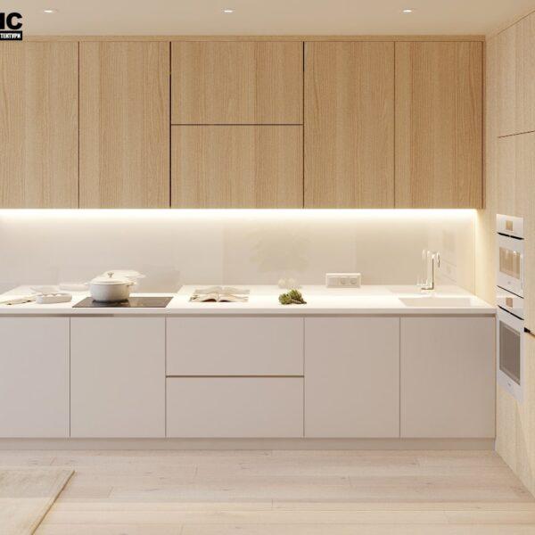 """Дизайн-проект двокімнатної квартири ЖК """"Левада"""", кухня вид спереду"""