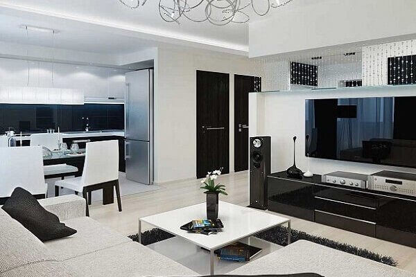 Дизайн интерьера четырехкомнатной квартиры, гостиная