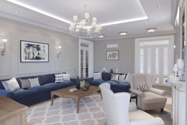 Дизайн интерьера четырехкомнатной квартиры, гостиная фото 2