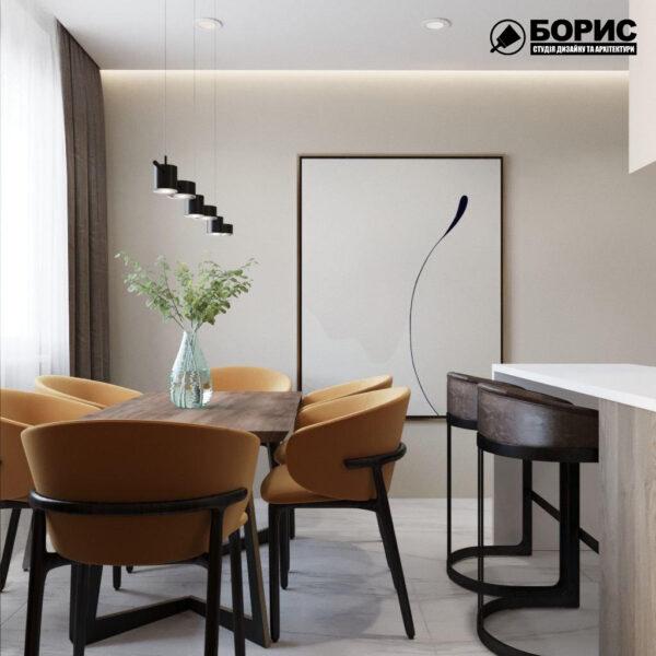 """Дизайн-проект трикімнатної квартири ЖК """"Віденський дім"""", кухня обідній стіл"""