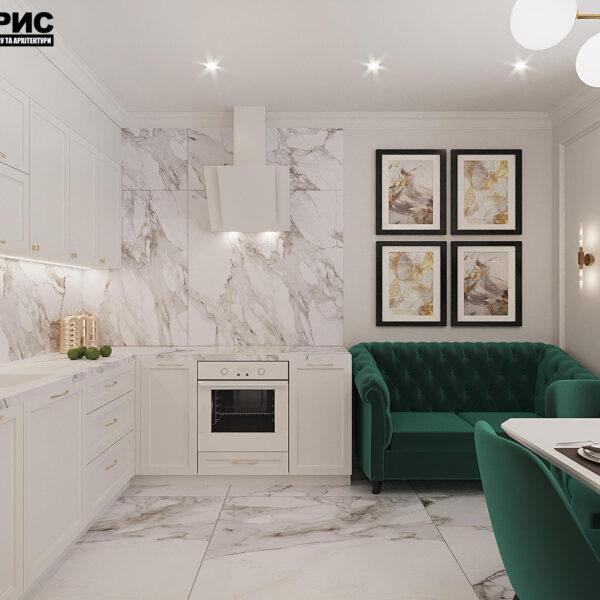 "Дизайн-проект квартири ЖК ""Німецький проект"", кухня вид справа"
