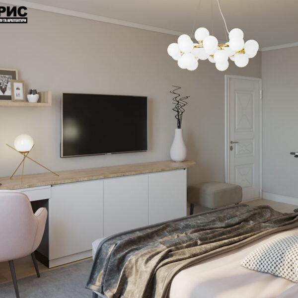 """Дизайн-проект двокімнатної квартири ЖК """"Пролісок"""", спальня"""