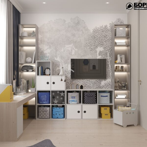 """Дизайн-проект однокімнатної квартири ЖК """"Інфініті"""", дитяча кімната вид ззаду"""