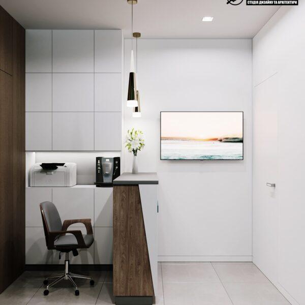 """Дизайн-проект гостиницы """"CITY LIFE"""", ресепшен вид справа"""