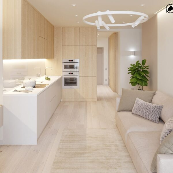 "Дизайн-проект двухкомнатной квартиры ЖК ""Левада"", кухня вид сбоку"
