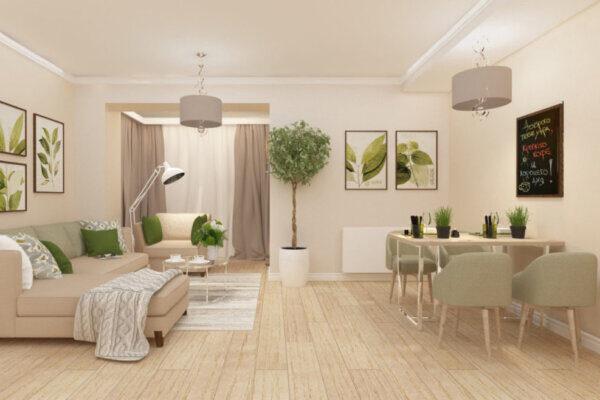Дизайн інтер'єру двокімнатної квартири, вітальня фото 2