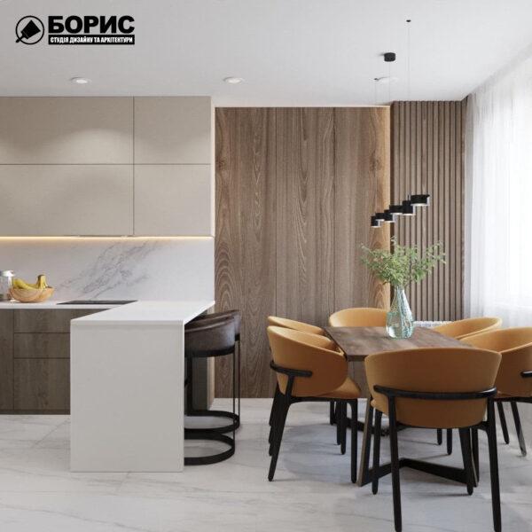 """Дизайн-проект трикімнатної квартири ЖК """"Віденський дім"""", кухня"""