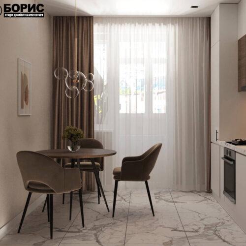 """Дизайн-проект интерьера однокомнатной квартиры ЖК """"Левада 2"""", кухня вид на обеденную зону с левой стороны"""