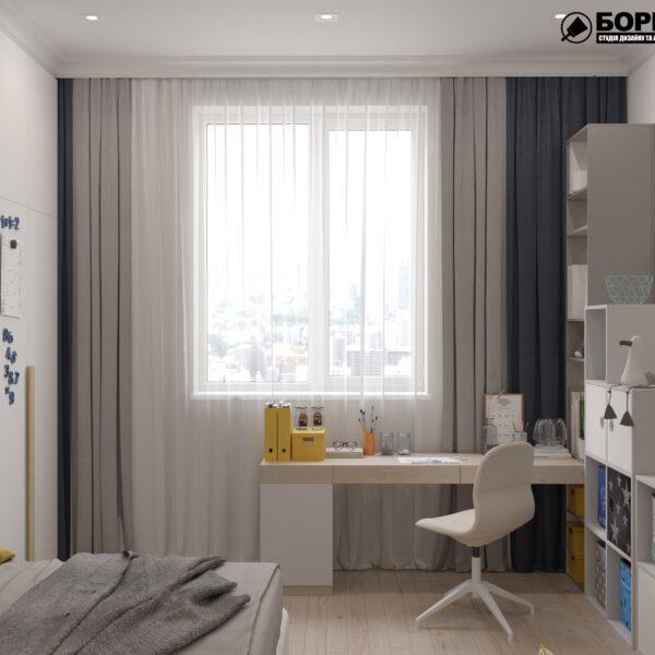 """Дизайн-проект однокімнатної квартири ЖК """"Інфініті"""", дитяча кімната вид збоку"""