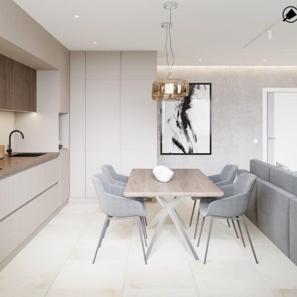 "Дизайн интерьера квартиры ЖК ""Журавли"", кухня вид справа"