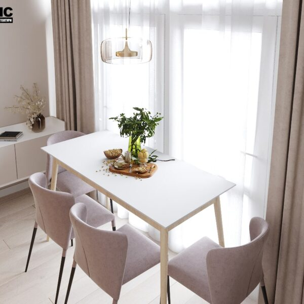 """Дизайн-проект двокімнатної квартири ЖК """"Левада"""", кухня обідній стіл"""