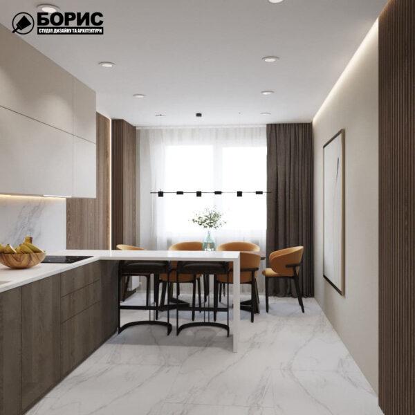 """Дизайн-проект трикімнатної квартири ЖК """"Віденський дім"""", кухня вид справа"""